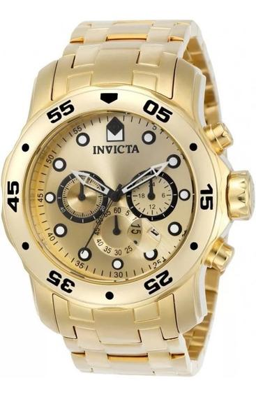 Relógio Invicta Original 0074 Banhado A Ouro 18k Novo