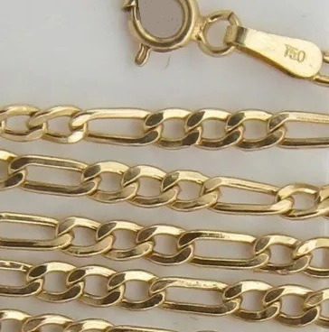 Corrente Figaro Grumet 3x1 Ouro 18k 750 - 26g - 60cm