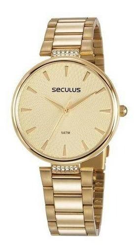 Relógio Seculus Feminino Glamour 77027lpsvds1 + Brinde