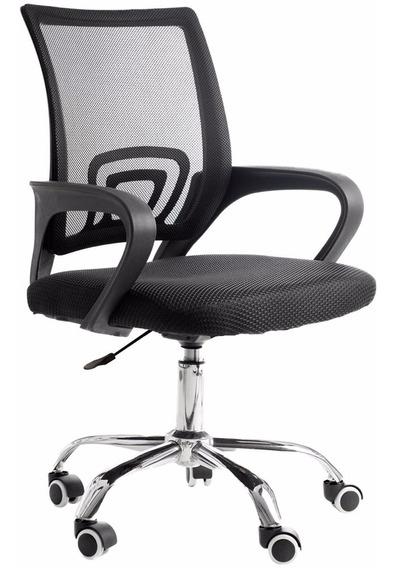 Cadeira De Escritório Giratória Com Base Cromada - 7691-a