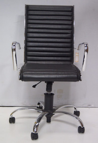 Cadeira Giratória Com Rodas Para Computador Em Couro Preto