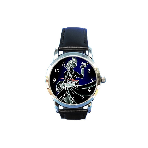 Relógio Unissex Ogum Espírita Espiritismo Orixá Couro Preto