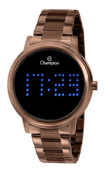 Relógio Champion Chocolate Digital Led Azul Ch40044r Novo