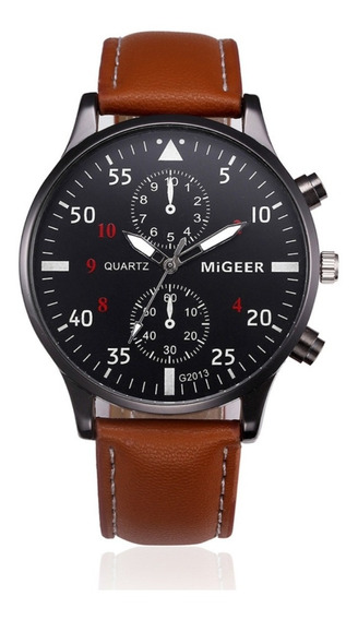 Relógio Masculino Pulseira Couro Importado Original Migeer