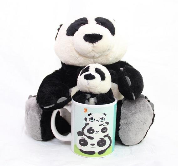 Urso Panda 35 Cm + 15 Cm + Caneca 300ml Cute Festa Importado
