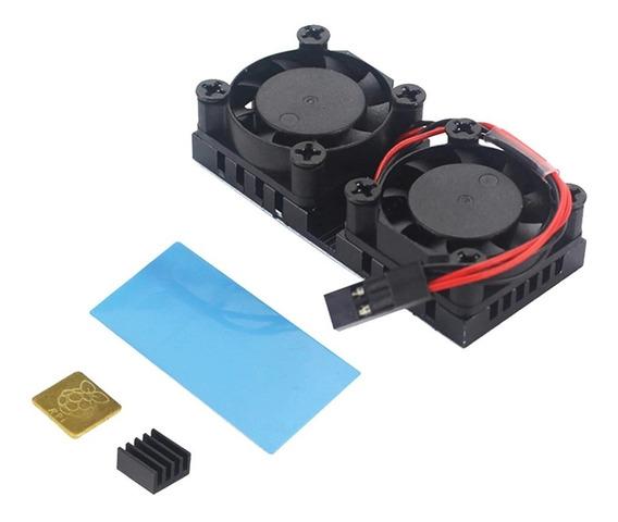 Cooler Ventoinha Duplo P/ Rapsberry Pi3 Pi 3b+ Plus Pi4 Pi 4