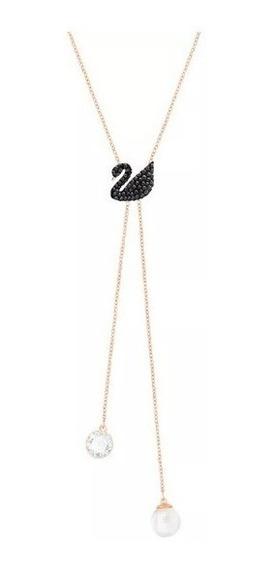 Colar Swarovski - Colar Duplo Em Y Iconic Swan, Preto