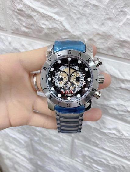 Relógio Masculino Bv Skeleton Prata New Subaqua Noma Quartz