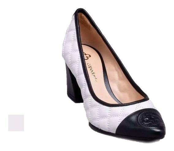 Sapato Scarpin Capodarte Salto Bloco Bicolor