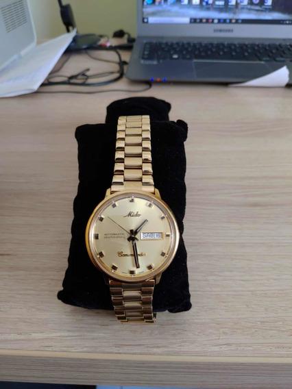 Relógio Mido Commander Folheado A Ouro 18k