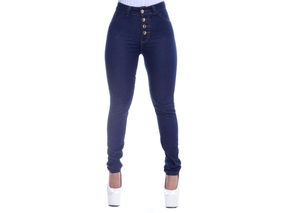 Calça Jeans Feminina 4 Botões Cintura Alta Com Lycra Barato