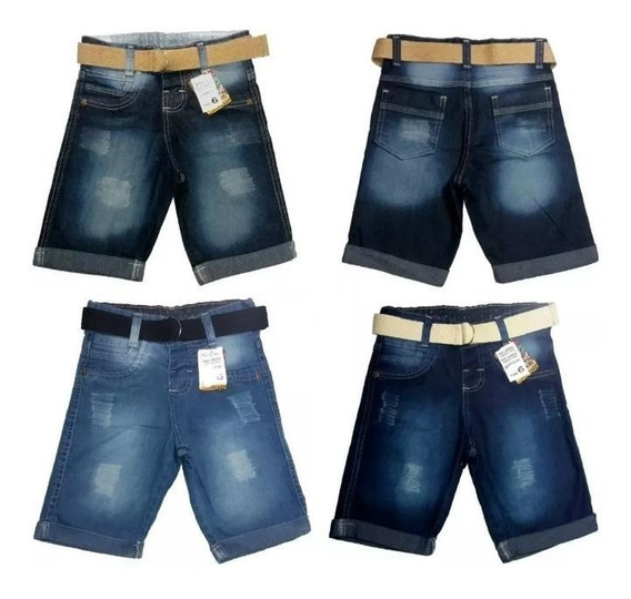 Kit 03 Bermudas Short Menino Infantil Masculino Jeans C/ Lycra Elastano Preço De Fábrica + 4 Brindes !!