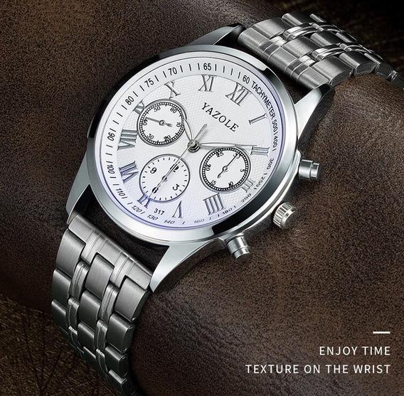 Relógio Masculino Yazole® 317 Aço Exclusive + Caixa Brinde