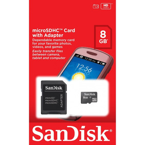 Cartão De Memória 8gb San Disk Com Adaptador