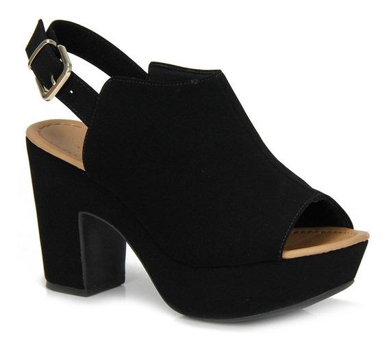 Sandália Open Boot Feminina Bebecê Preta