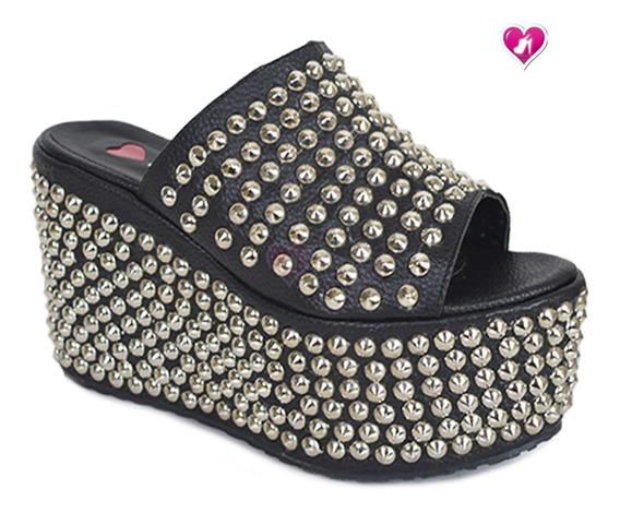 Zueco Cuero Moda Tachas Plataforma Model Ric De Shoes Bayres