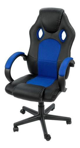 Imagen 1 de 2 de Silla de escritorio Onof AGTGM gamer ergonómica  negra y azul con tapizado de cuero sintético
