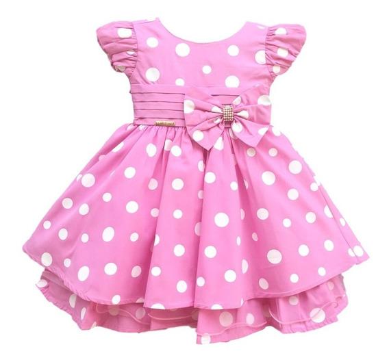 Vestido Minnie Rosa Bebe Disney Baby Com Faixa De Cabelo