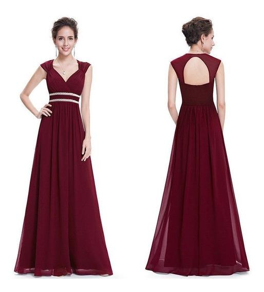 Vestido Largo Color Rojo Borgoña Importado