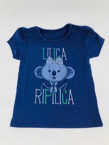 Camiseta Lilica Ripilica Azul Marinho Com Desenho