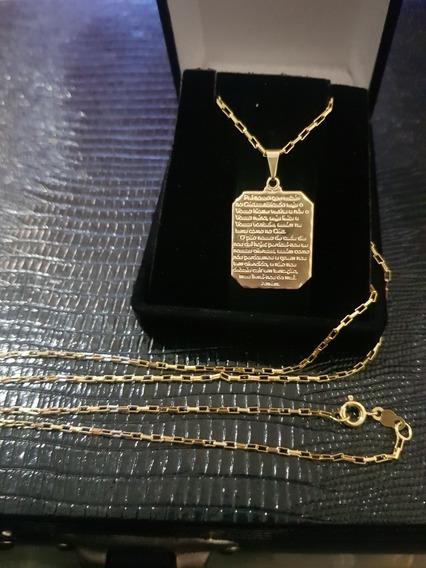 Cartier Quadradinha Banhada A Ouro 18k Com Pingente.