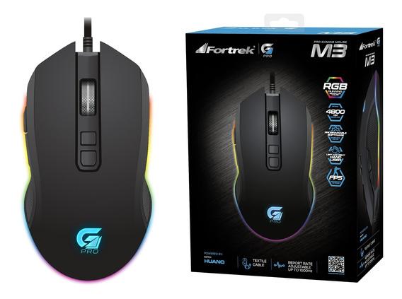 Mouse Gamer Pro M3 Rgb Preto Fortrek Com Fio 4800 Dpi