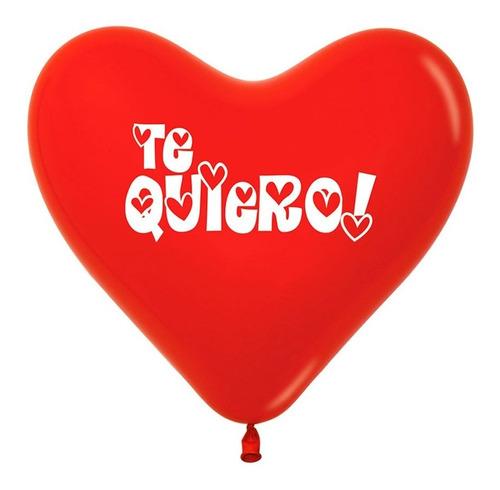 Globos Corazón R-12 Sempertex X 50 Fashion Rojo Te Quiero