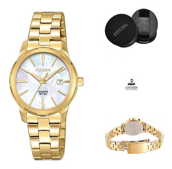 Reloj Citizen 61059 Eu6072-56d Mujer Acero Dorado Fechador