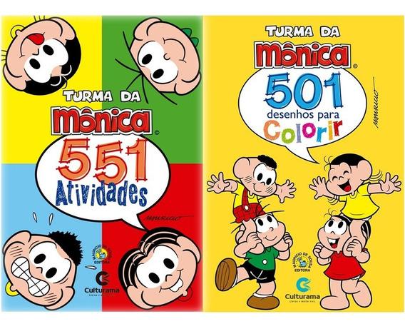 2 Livros Turma Da Mônica: 501 Colorir E 551 Atividades