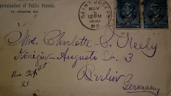 Antiguo Sobre Carta 1890 Circulado Eeuu A Alemania