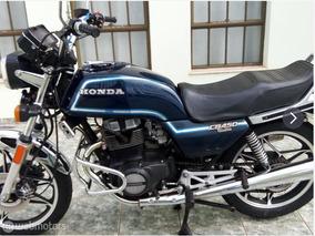 Honda Cb450 Custom 1984 Azul Marinho Cb-450