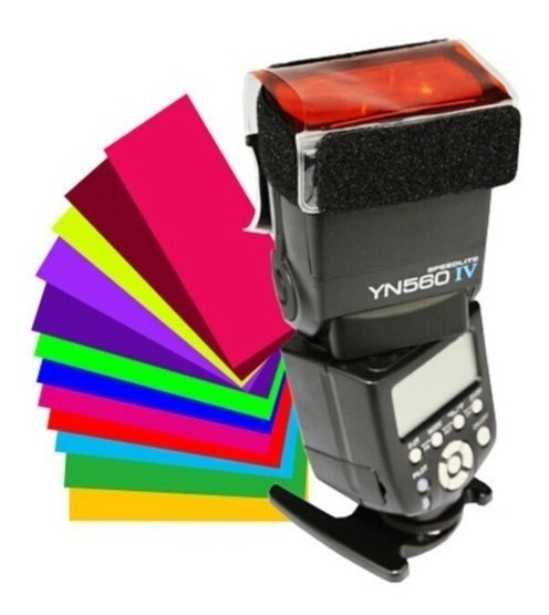 Kit De Filtros Difusores Coloridos Para Flash Speedlight
