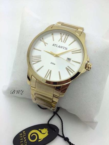 Relógio Luxo Atlantis Dourado Branco Original Elite