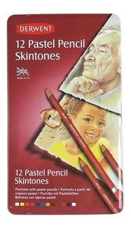 Caja Metalica C/12 Lapices Pastel Skintone Derwent