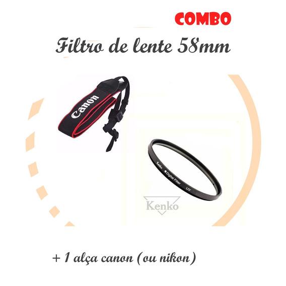 T6i - Filtro Lente 58mm Uv Kenko Original Para Camera Canon
