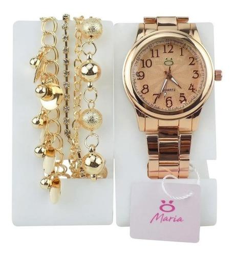 Relógio Feminino Aço Maria Analógico + Pulseira Rma118