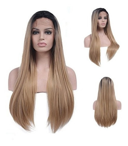Peruca Front Lace Wig Ombre Hair Loira Lisa Degradê