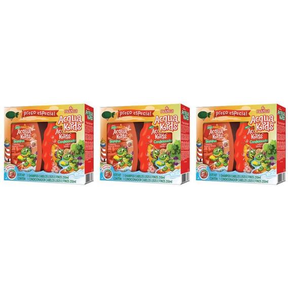 Acqua Kids Estojo Lisos E Finos Sh + Cond 250ml (kit C/03)