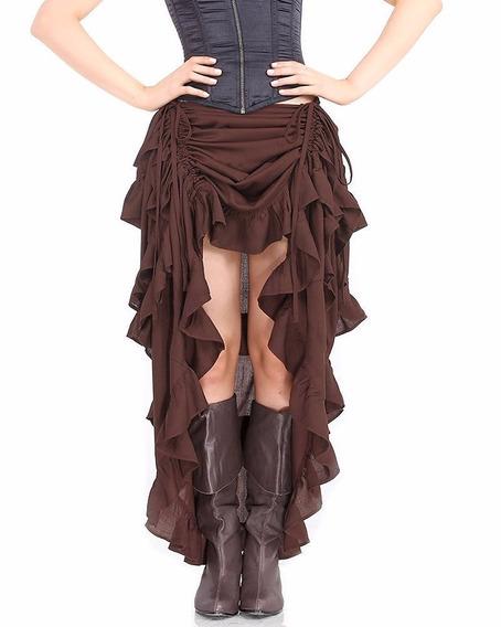 Falda Brown Gotica Victorian Hi Low Steampunk Skirt Ruffle M