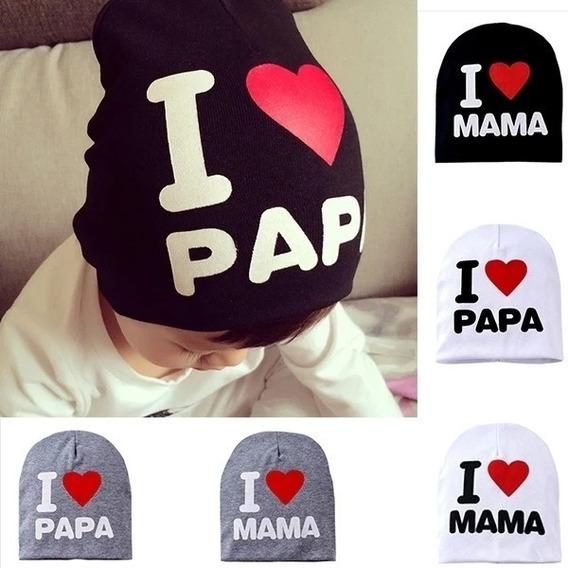 Gorro Gorrito Niño Niña I Love Mama I Love Papa X Pieza