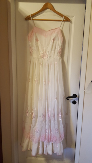 Vestido De 15 O Fiesta En Gasa Bordada Importada -hermoso!!!