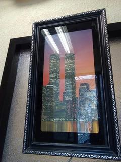 Cuadro Con Luz, Antiguo De Torres Gemelas Nueva York U.s.