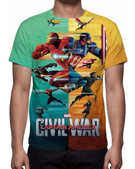 Camisa, Camiseta Capitão América Guerra Civil Mod 05
