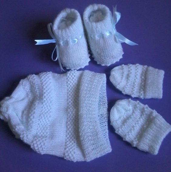 Kit Em Tricô P/ Recém-nascidos ( Sapatinho, Touca E Luva)