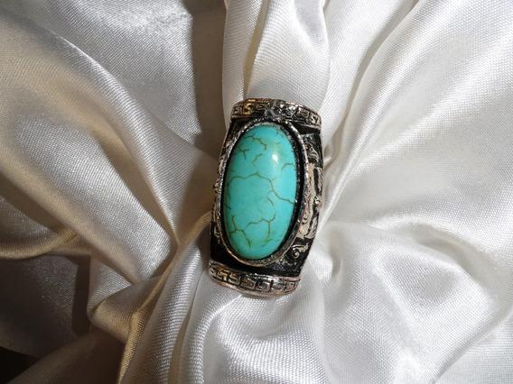 Lindo,elegante Anel Vintage Bronze Banho Prata/turquesadéc80