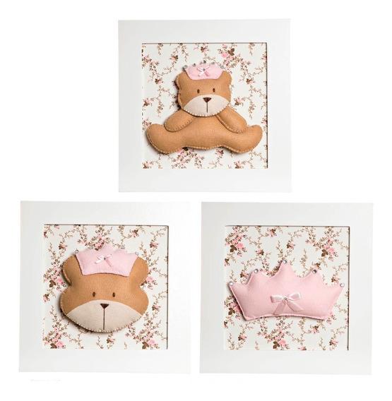 Trio Quadrinhos Decorados Quarto Bebê Infantil Ursa Princesa