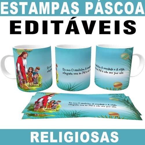 Artes Canecas Páscoa Religiosas Jesus Editáveis Sublimação