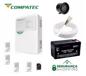 Kit Alarme Ap1 Compatec Sensores Controle Cabo Sirene Bateri