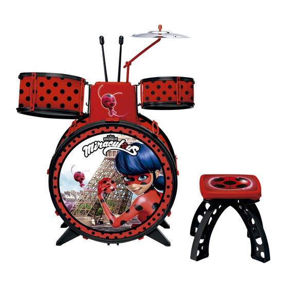 Bateria Musical Infantil Fun Miraculous Ladybug C/ Banquinho