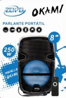 Parlante Portátil Bluethoot 8 Zenei Okami 250w Mic Usb Sd